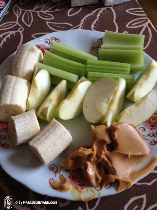 Banana, celery, apple with peanut butter. Great snack!