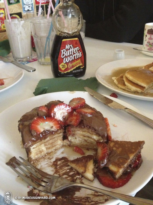 Mr. Pancakes...Nutella with strawberries AND Mrs. Butterworth's!